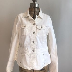 Cabi White Denim Jean Jacket
